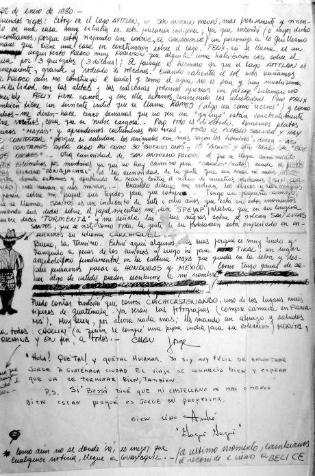 Carta desde el lago Atitlán 1980