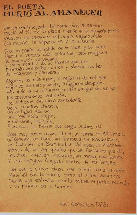Poema de Tuñón de puño y letra de Jorge Acha